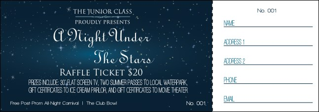 Star Theme Raffle Ticket