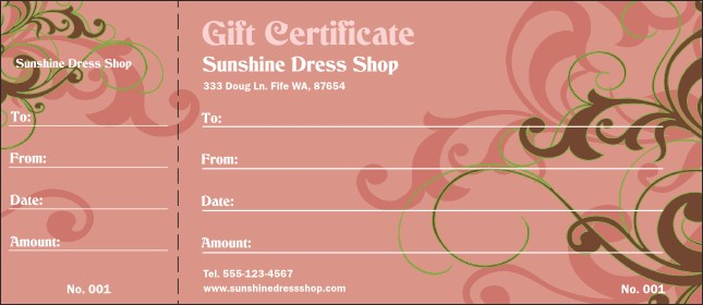 Pink Vines Gift Certificate Product Front