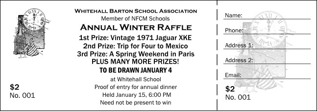 Black and White New Year's Raffle Ticket
