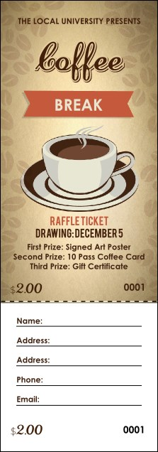 Coffee Raffle Ticket Product Front