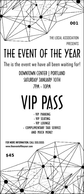 All Purpose Geometric Black and White VIP Pass