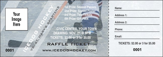 Ice Hockey Schedule Raffle Ticket
