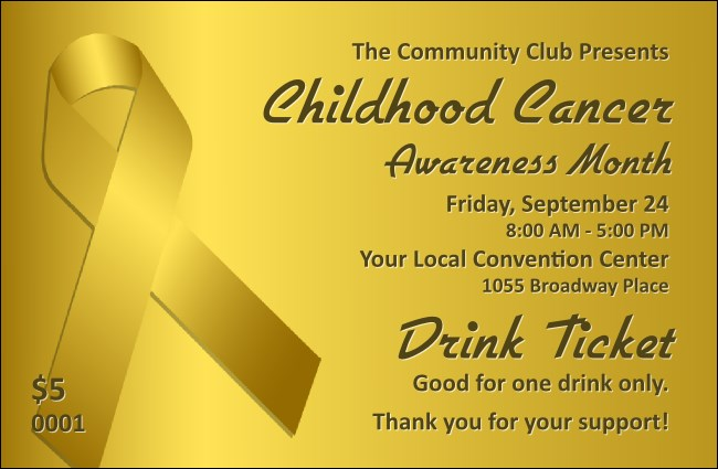 Childhood Cancer Awareness Month Drink Ticket Product Front