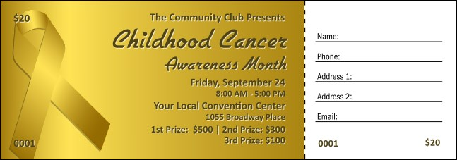 Childhood Cancer Awareness Month Raffle Ticket Product Front