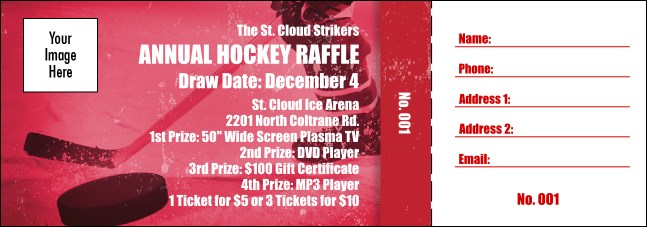 Hockey Fundraiser Red Raffle Ticket Product Front