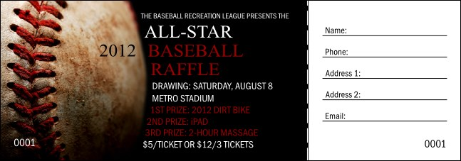Baseball Stiches Raffle Ticket