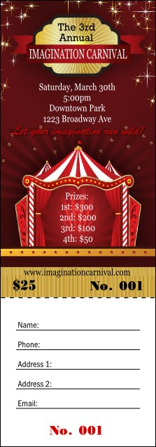Red Tent Raffle Ticket Product Front