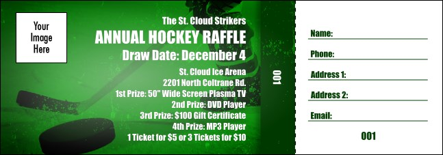 Hockey Green Raffle Ticket Product Front