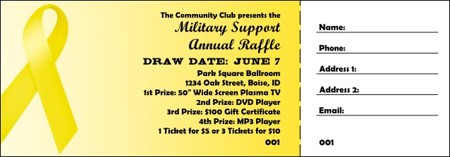 Yellow Ribbon Raffle Ticket
