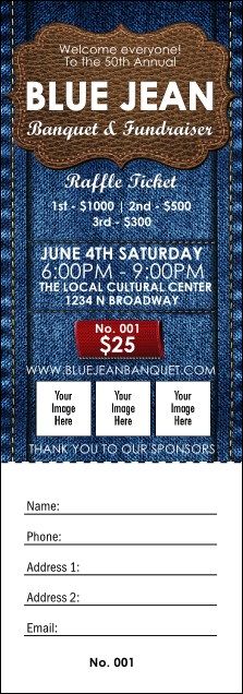 Blue Jeans Raffle Ticket Product Front